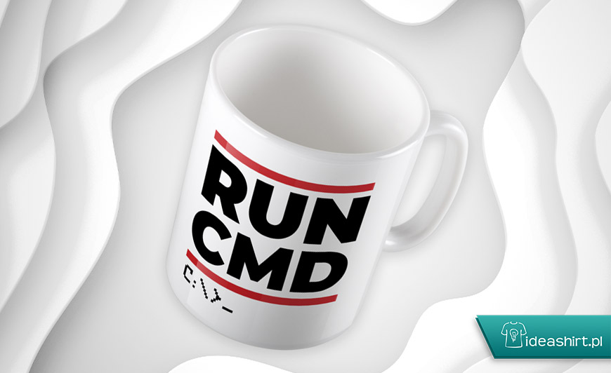 RUN CMD śmieszny kubek dla programisty