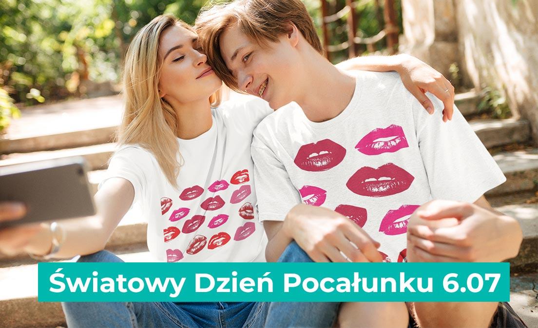 Nadruki na t-shirtach z okazji dnia pocałunku