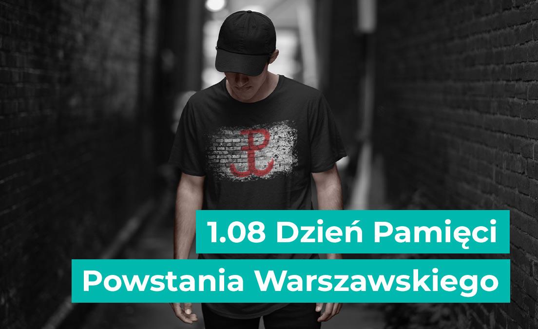 T-shirt męski z nadrukiem na Narodowy Dzień Pamięci Powstania Warszawskiego