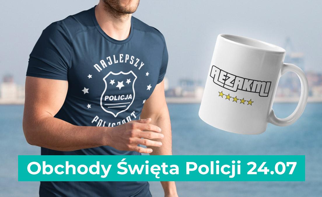 Gadżety i t-shirty z nadrukami z okazji Dnia Obchodu Święta Policjanta