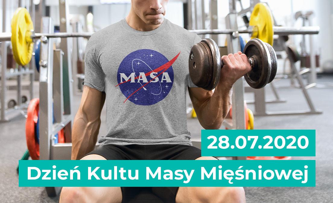 Męski T-shirt na siłownię z okazji Dnia Kultu Masy Mięśniowej