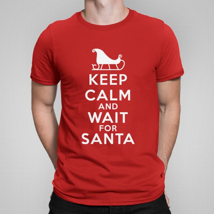 Keep Calm and wait for Santa koszulka męska